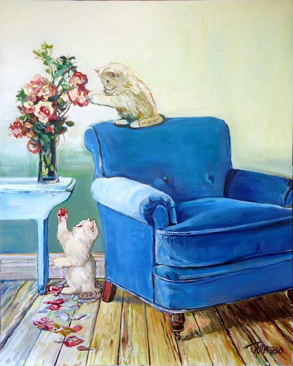 Curious kittens with petals - T.A.Matthews - The Cat Gallery