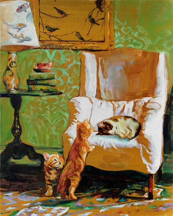 Curiou Kittens No.3 - T.A.Matthews - The Cat Gallery