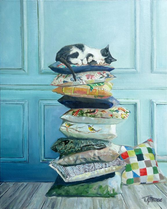 Cushion Kitty - T.A.Matthews - The Cat Gallery