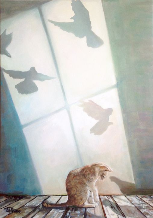 Cat With Bird Shadow - T.A.Matthews - The Cat Gallery