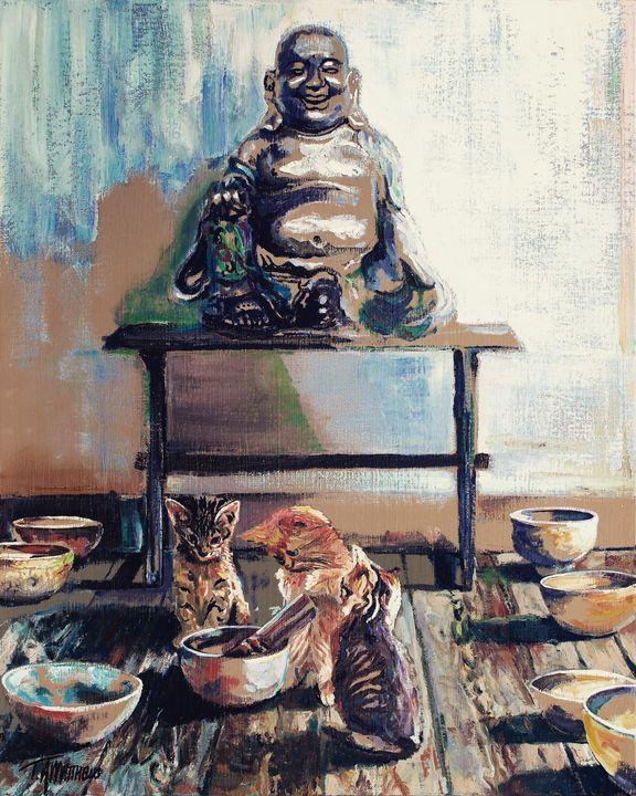 Singing Kitty, laughing Buddha - T.A.Matthews - The Cat Gallery