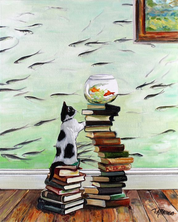 Curious kitten with fishbowl - T.A.Matthews - The Cat Gallery