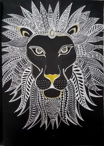 Lion Black and white Zentangle