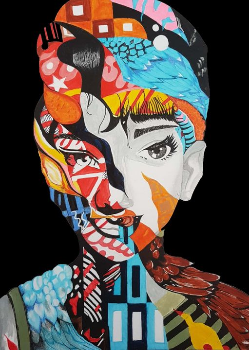 Abstract vibrant Women Painting - Subhrata Art Gallery