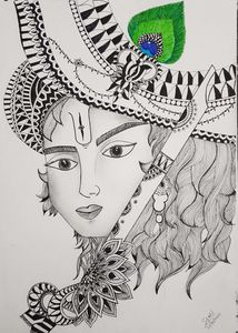 Krishna sketch zentangle