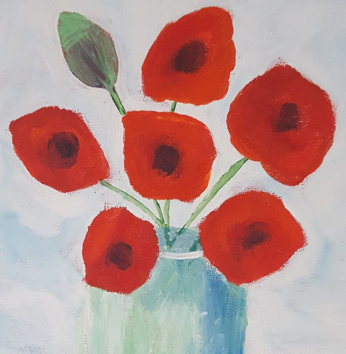 Cheerful Red Poppies - The Painting Patch
