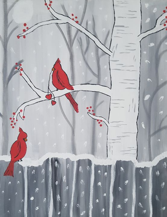 Winter Cardinals and Berries - The Painting Patch