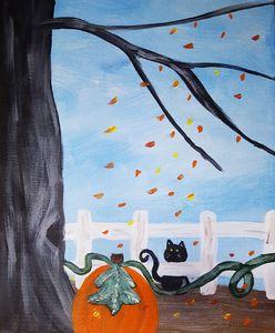 Black Cat staring at a pumpkin