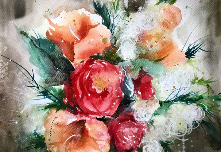 Red & Orange Bloom - Tatiana Vassi