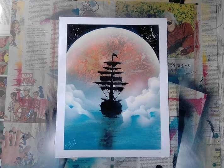 Beautiful Ship in Moon Light - Asif Iqbal Tutul