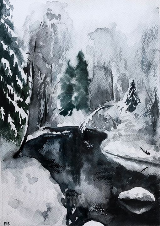 Winter landscape drowwing - Polina Vik