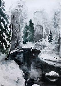 Winter landscape drowwing