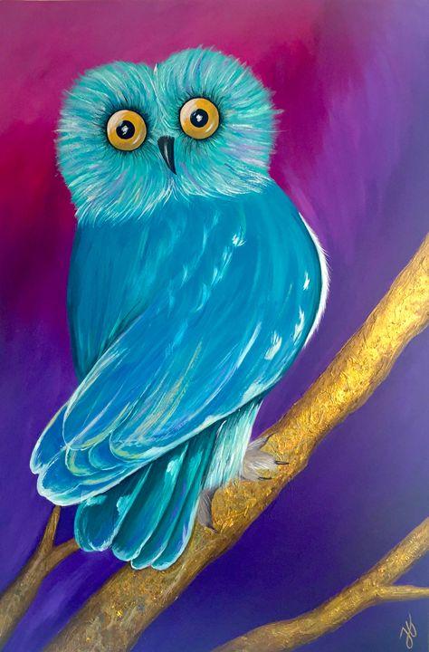 Owl with golden textures - Retratarte by JG