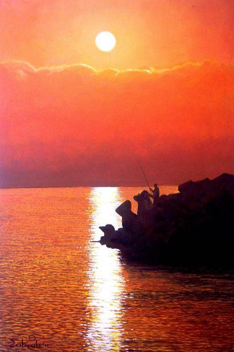 Fishing (Sunset Painting) - Zohaib Ahmed