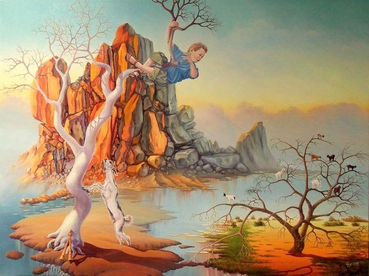 A dream of Pan Nick - Surreal paintings - Gyuri Lohmuller