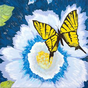 Yellow Butterfly with Blue