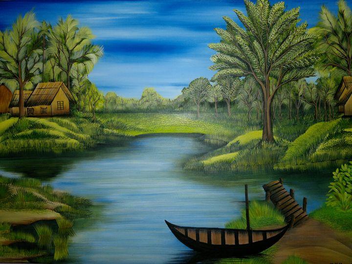 Lake and Village - Opi Mozumder