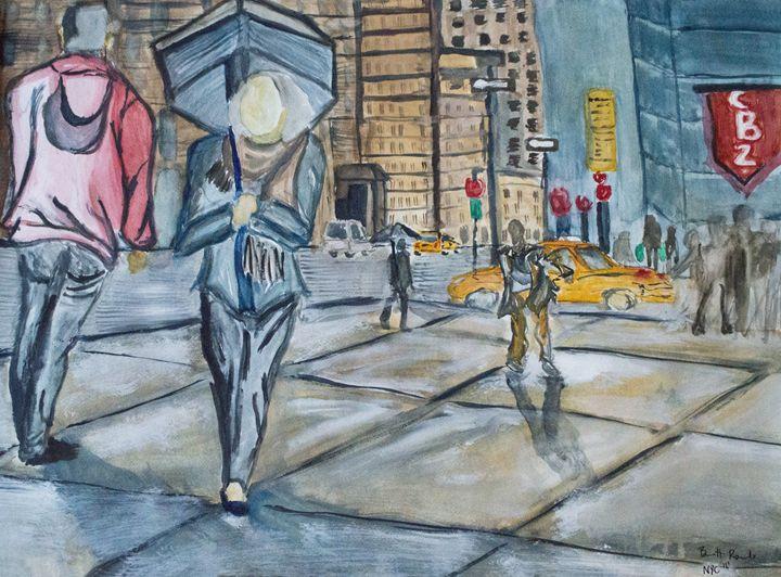 New York City in the Rain - Bennett Rambo