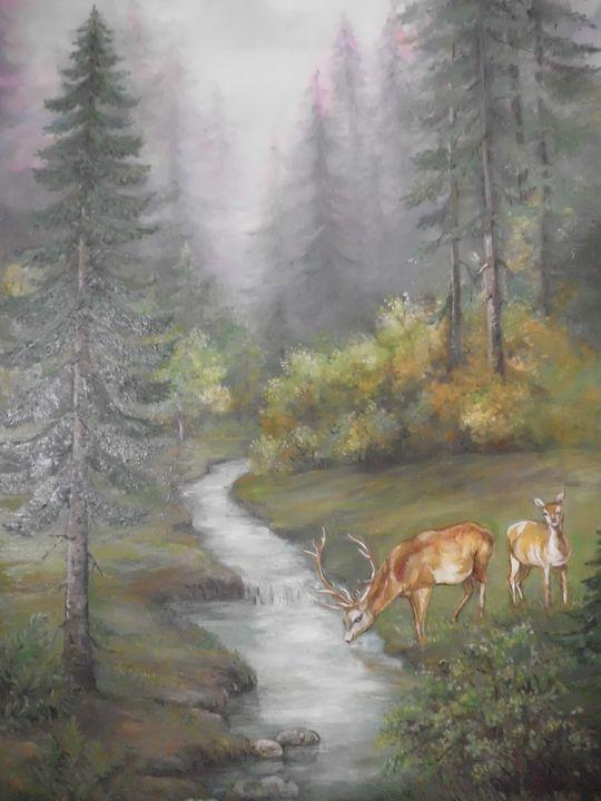 Deers by the river - Edy Art Gallery