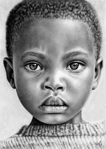 Portrait of Boy, charcoal drawing.