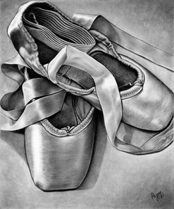Ballet Slippers, charcoal drawing