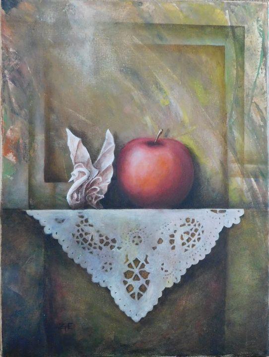 Still life with apple and swan - Eda Z Tényi