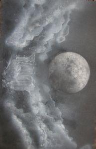 A dark moon over a crashing waterfal