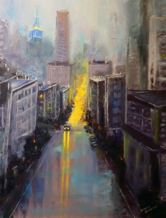 An Evening City. Oil, canvas. - Paintings by Tamara Hanenko