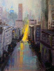 An Evening City. Oil, canvas.