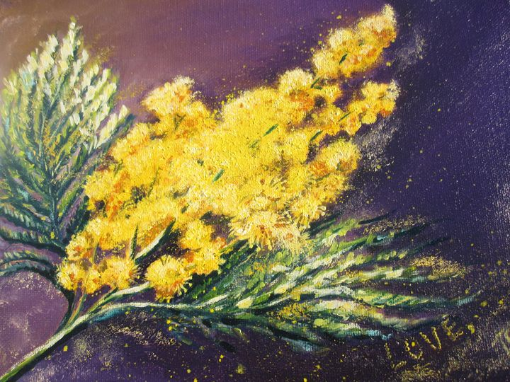 Mimosa. Oil, canvas. 9x12 - Paintings by Tamara Hanenko