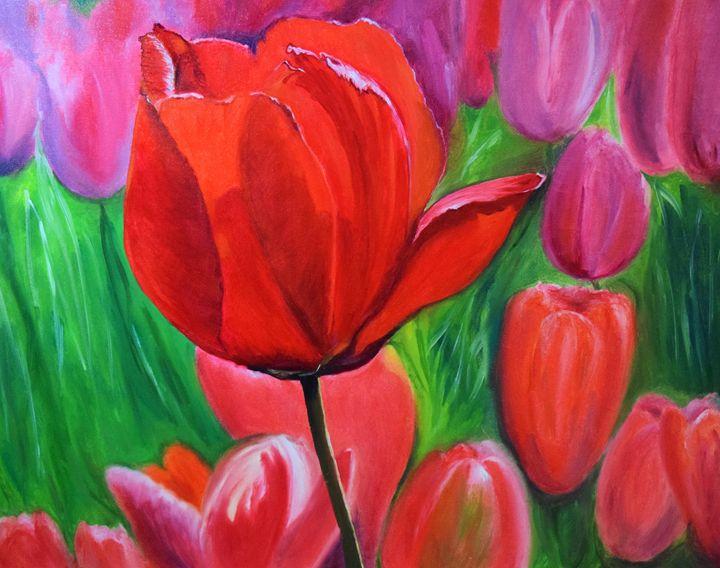 Tulips. Oil, canvas. - Paintings by Tamara Hanenko