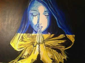 A Praying. Acrylic, canvas.