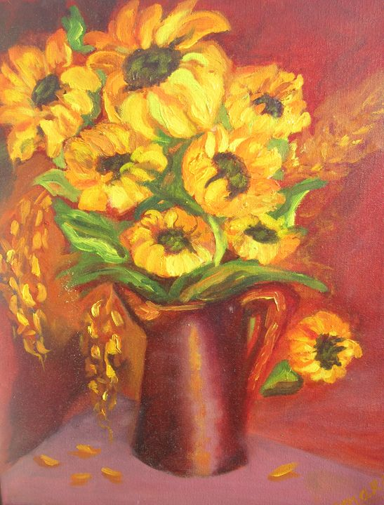 Bouquet of Sunflowers, Oil, Canvas - Paintings by Tamara Hanenko