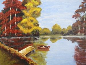 A Fall Lake with a Boat. Oil, canvas