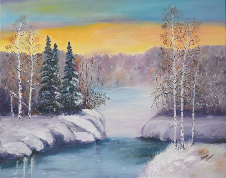 A Blue Winter. Oil, canvas. - Paintings by Tamara Hanenko