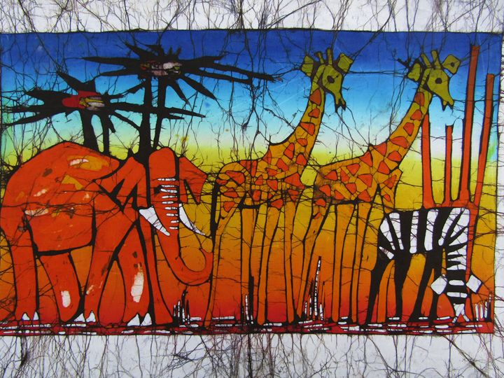 Elephant,Giraffes and zebra - African Art