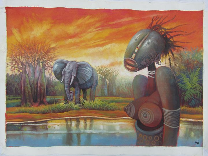 African women and the elephant - African Art