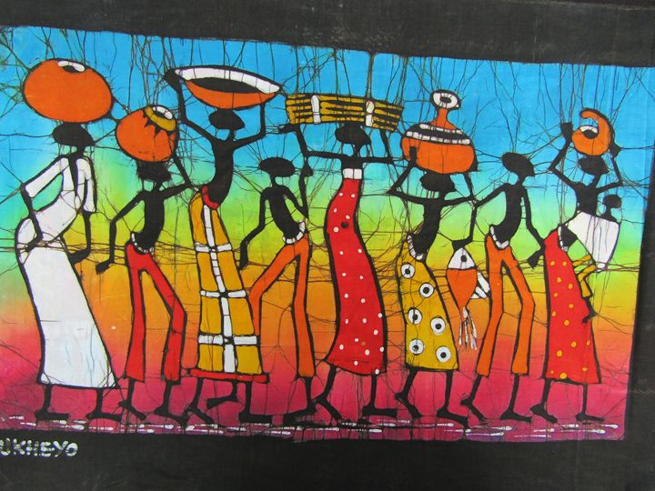 African people carrying on head - African Art