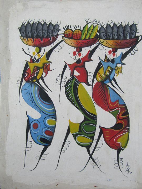 Maasai women working - African Art