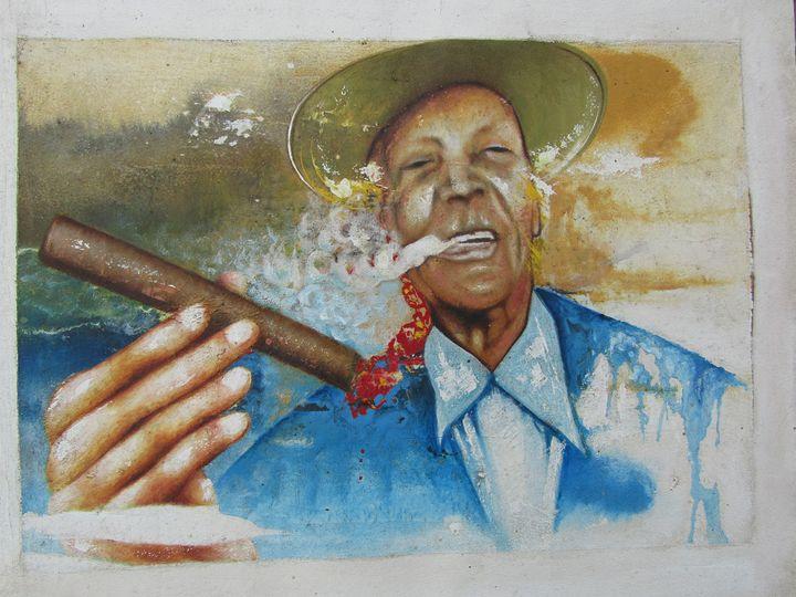 Old men smoking cigars - African Art