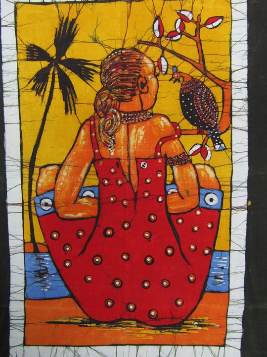 African women and bird on the river - African Art
