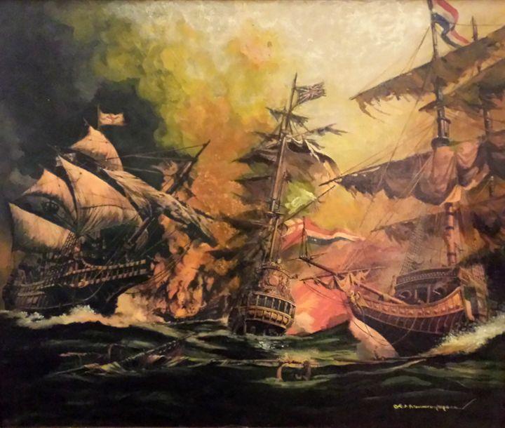 Sea battle - European Vintage Gallery