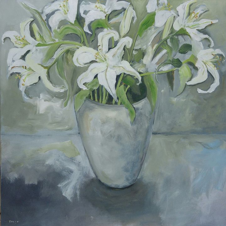 Pot of St.Joseph Lilies - Eat Pray Love Art