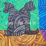 Abstract Painting Of Cats