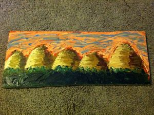 Painted Dunes on Wood Slab