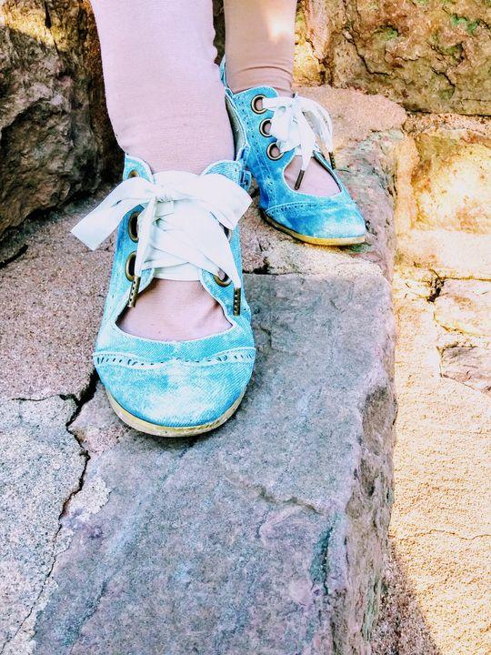 Blue shoes. - Meagen