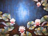 Original Painting, Flowers, Water