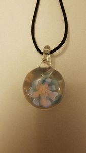 Pink and Blue Flower Pendant