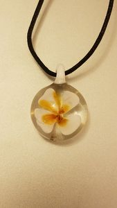 White Flower Glass Pendant