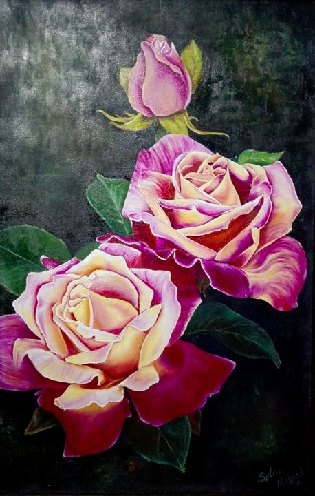 Rose flower oil painting - Sidra Masood